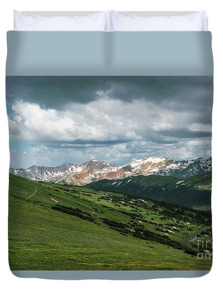 Rocky Mountain View Duvet Cover by Sharon Seaward