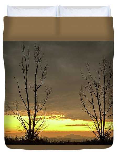 Duvet Cover featuring the photograph Rocky Mountains Horizon Through The Trees by James BO Insogna