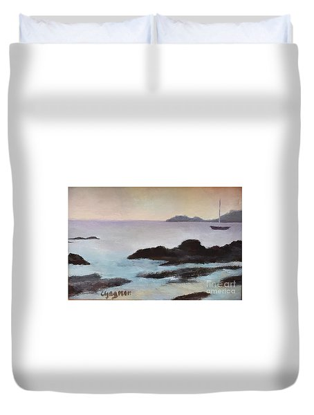 Rocky Neck At Sunset Duvet Cover