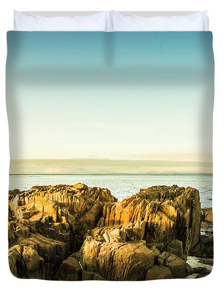 Rocky Oceanscape Duvet Cover