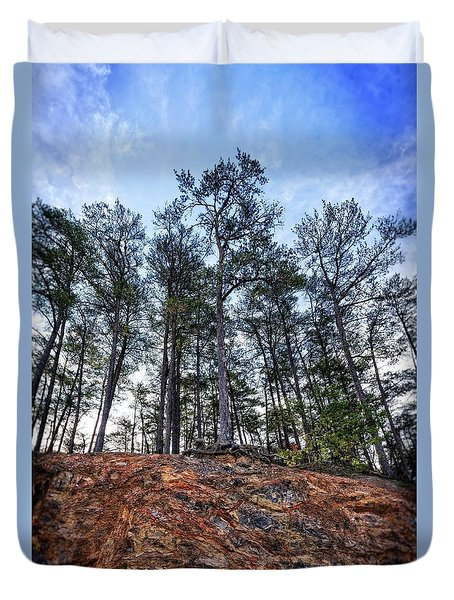 Duvet Cover featuring the photograph Rocky Pines by Alan Raasch