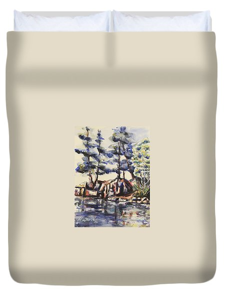 Rocky Pines Duvet Cover by Heather Kertzer