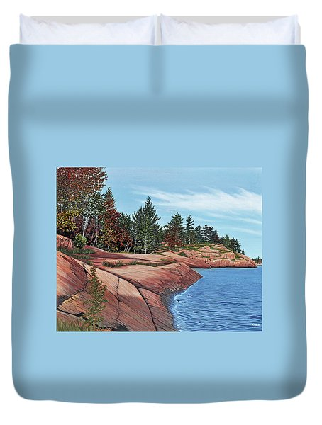 Duvet Cover featuring the painting Rocky River Shore by Kenneth M Kirsch