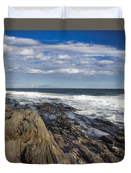 Rocky Shore Line Two Lights Maine  Duvet Cover