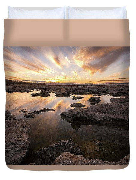 Rocky Shores Of Utah Lake Duvet Cover