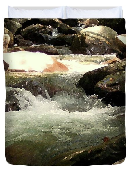 Duvet Cover featuring the mixed media Rocky Stream 4 by Desiree Paquette