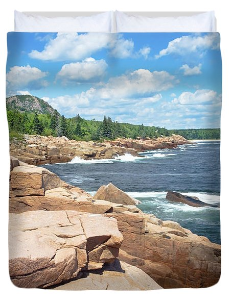Rocky Summer Seascape Acadia National Park Photograph Duvet Cover by Keith Webber Jr