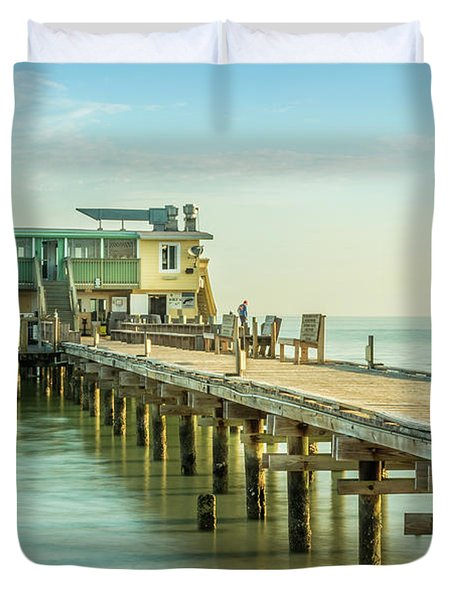 Rod And Reel Pier, Anna Maria Island In Florida Duvet Cover