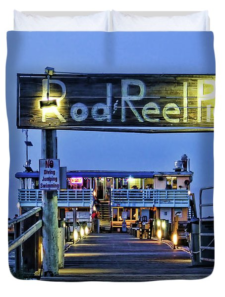 Rod And Reel Pier Duvet Cover