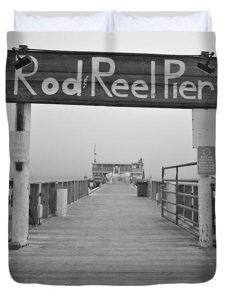 Rod And Reel Pier In Fog In Infrared 53 Duvet Cover