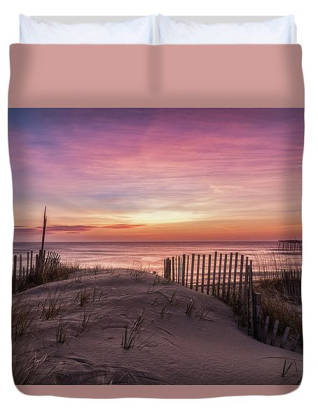 Duvet Cover featuring the photograph Rodanthe Sunrise by Russell Pugh