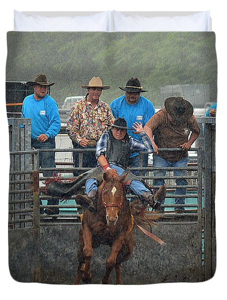 Duvet Cover featuring the photograph Rodeo Bronco by Lori Seaman