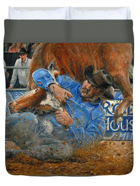 Rodeo Houston --steer Wrestling Duvet Cover