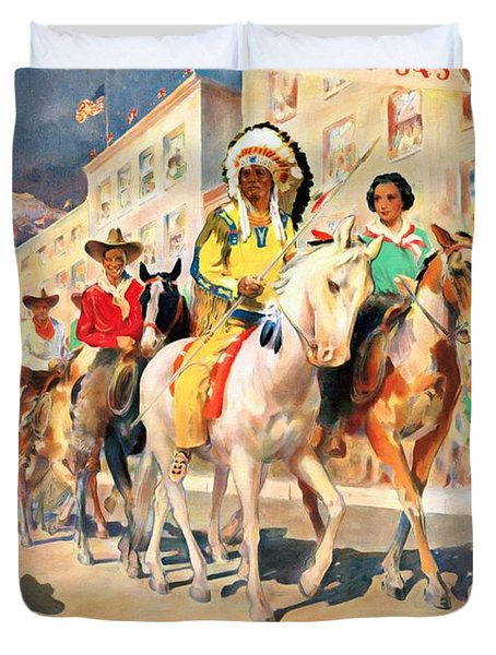 Rodeo Parade - Vintage Poster Restored Duvet Cover