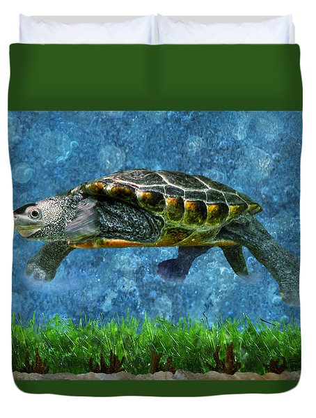 Rodney The Diamondback Terrapin Turtle Duvet Cover