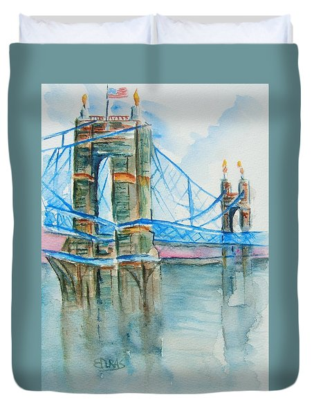 Roebling On The Ohio River Duvet Cover