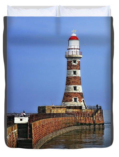 Roker Lighthouse Portrait Duvet Cover