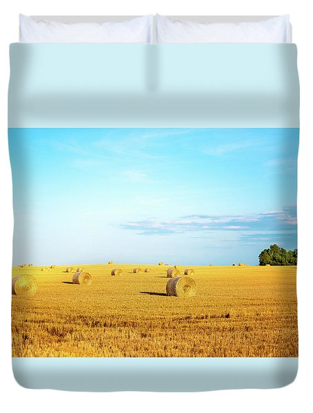 Duvet Cover featuring the photograph Rolled Hay by Onyonet  Photo Studios