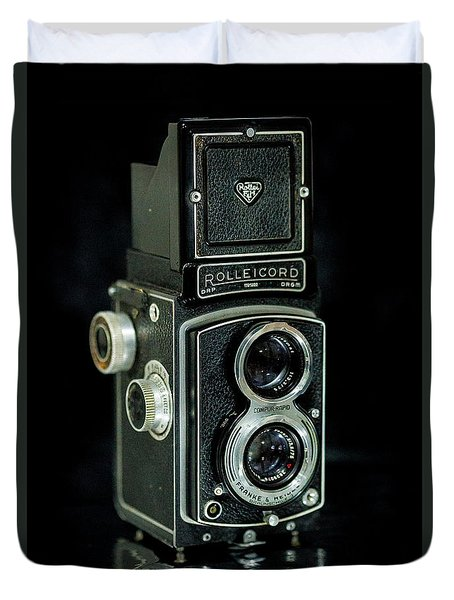 Duvet Cover featuring the photograph Rollei Twin Lense by Keith Hawley