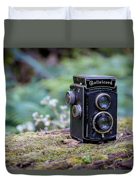 Duvet Cover featuring the photograph Rolleicord Tlr by Keith Hawley