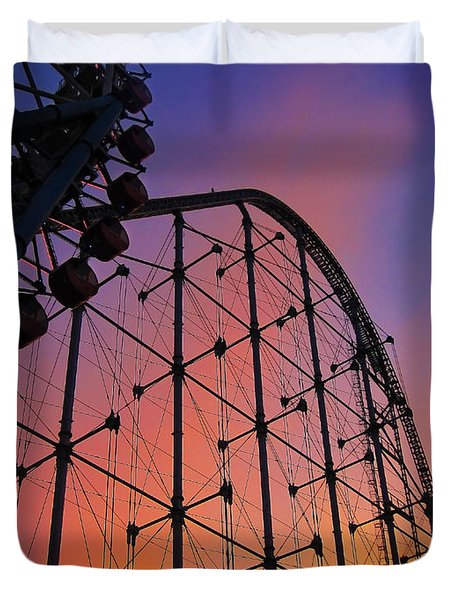 Roller Coaster At Sunset Duvet Cover