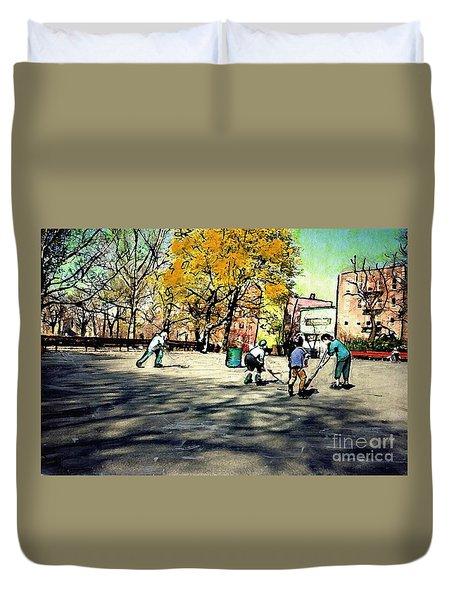 Roller Hockey In Bennett Park Duvet Cover by Sarah Loft