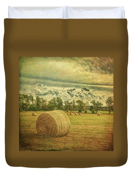Duvet Cover featuring the photograph Rollin' Hay by Lewis Mann