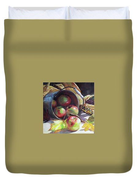 Rolling Apples Duvet Cover by Donna Munsch