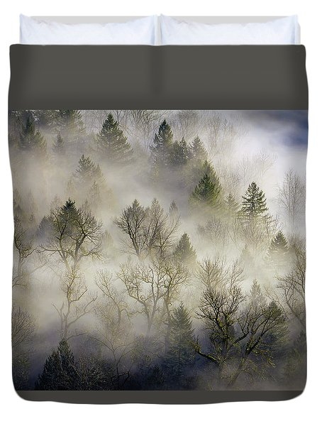 Rolling Fog In Sandy River Valley Duvet Cover by David Gn