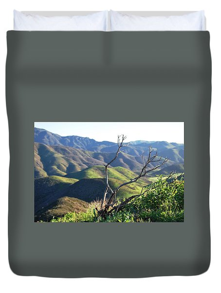 Duvet Cover featuring the photograph Rolling Green Hills With Dead Branches by Matt Harang