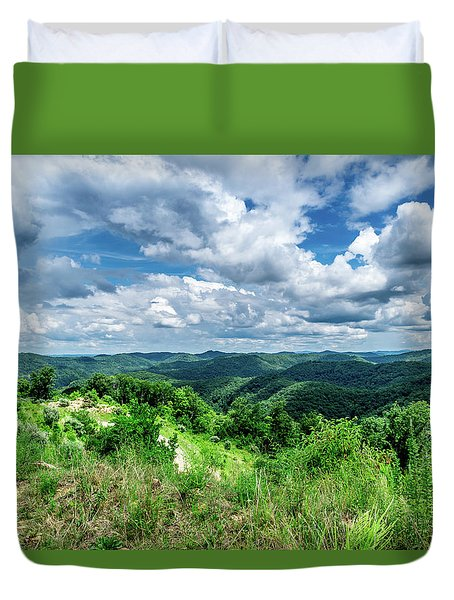 Rolling Hills And Puffy Clouds Duvet Cover