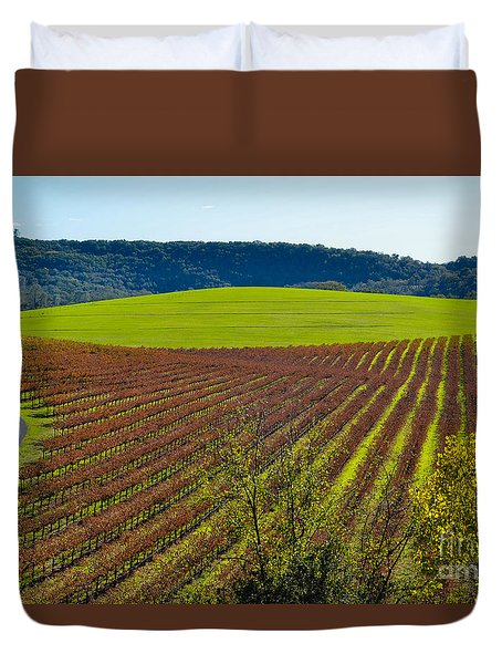 Rolling Hills And Vineyards Duvet Cover by CML Brown