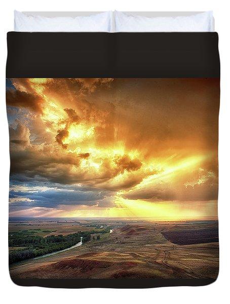 Rolling Rain Of Summer Sunset Duvet Cover
