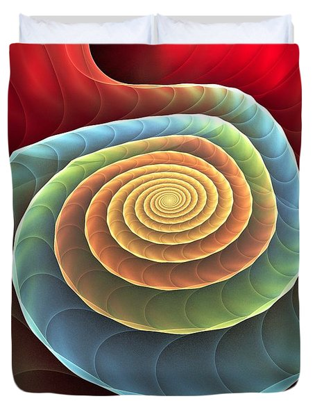 Duvet Cover featuring the digital art Rolling Spiral by Anastasiya Malakhova