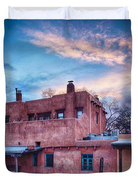 Rolling Through The Streets Of Santa Fe At Sunset - The City Different New Mexico Duvet Cover