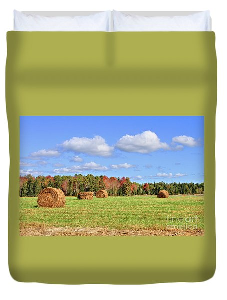 Rolls Of Hay On A Beautiful Day Duvet Cover