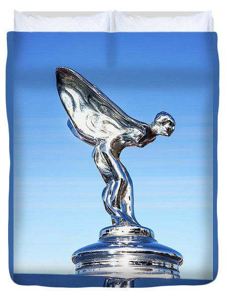 Duvet Cover featuring the photograph Rolls Royce Hood Ornament by Aloha Art