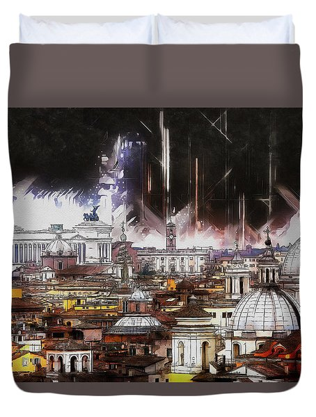 Duvet Cover featuring the painting Roma Aeterna by Kai Saarto