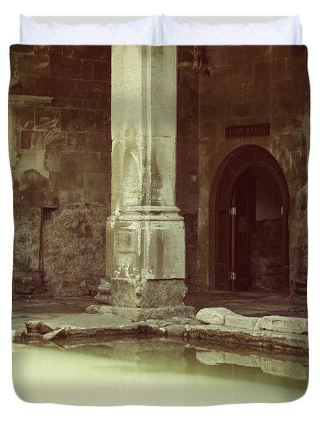 Roman Baths In Bath, England Duvet Cover