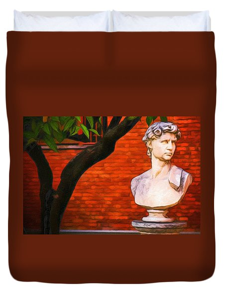 Roman Bust, Loyola University Chicago Duvet Cover by Vincent Monozlay