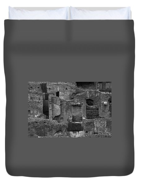 Duvet Cover featuring the photograph Roman Colosseum Bw by Silvia Bruno