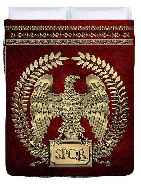 Roman Empire - Gold Imperial Eagle Over Red Velvet Duvet Cover