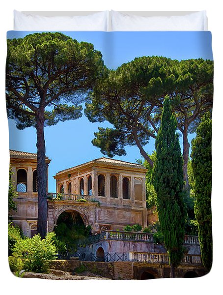 Duvet Cover featuring the photograph Roman Forum Hillside  by Harry Spitz