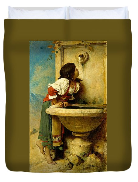 Roman Girl At A Fountain Duvet Cover
