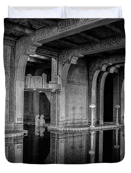 Roman Pool, Black And White Duvet Cover