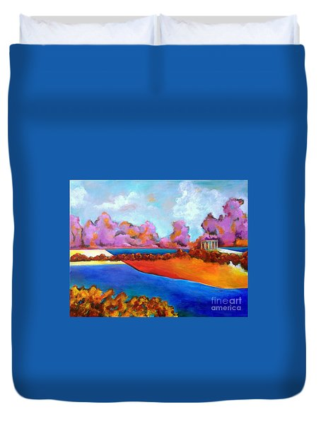Duvet Cover featuring the painting Roman Romance by Elizabeth Fontaine-Barr