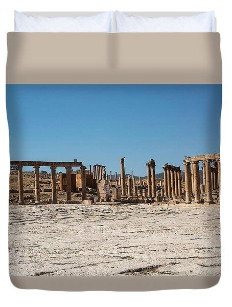 Duvet Cover featuring the photograph Roman Ruins At Ajloun by Mae Wertz