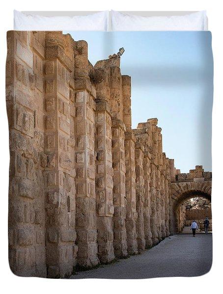 Roman Ruins At Jerash, Jordan  Duvet Cover