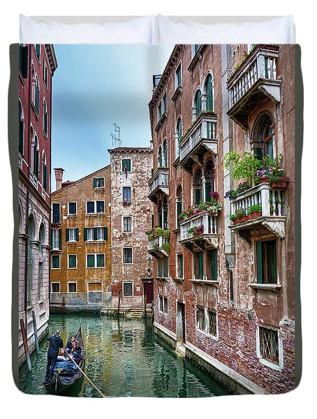 Gondola Ride Surrounded By Vintage Buildings In Venice, Italy Duvet Cover