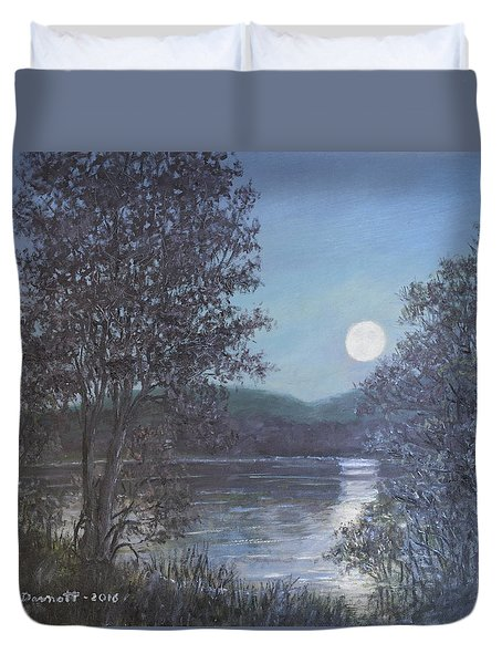 Duvet Cover featuring the painting Romance Of The Moon by Kathleen McDermott